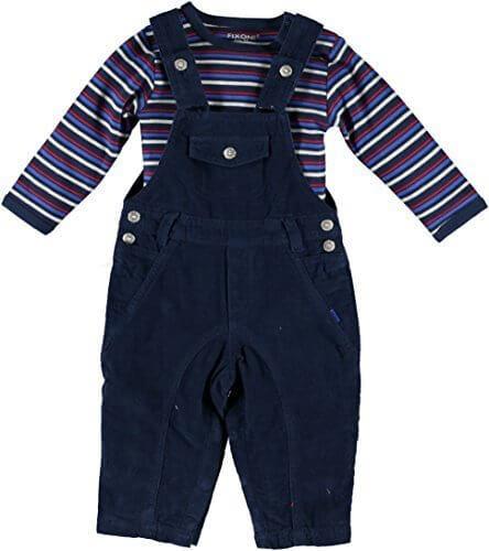 (フィクソーニ)FIXONI 北欧ブランド 綿100%コーデュロイオーバーオールと長袖ボディスーツのセット 86cm,ベビー,オーバーオール,