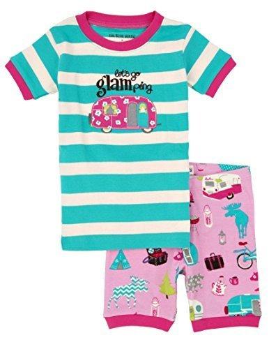 Hatley ハットレイ キッズ女の子 半袖半ズボンパジャマ 100cm、4Y(104cm) マルチカラー 綿100% PJUGLAM001,子供服,パジャマ,