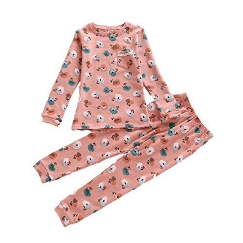 AIKEE 子供 ルームウェア 女の子 部屋着 かわいい りんご プリント 長袖 Tシャツ + パンツ セット 春 秋 パジャマ 寝巻き ガールズ インナー 下着 apple 120,子供服,パジャマ,
