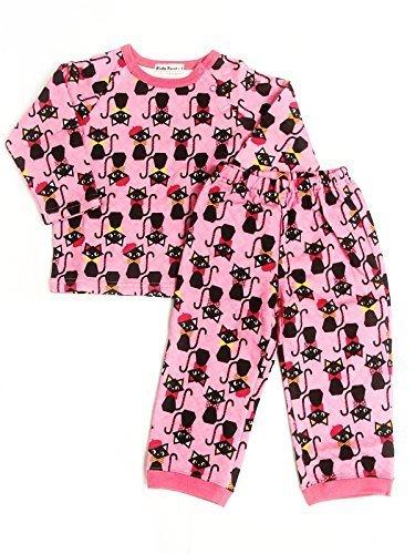 キッズフォーレ Kids Foret ネコ柄長袖キルトパジャマ (90cm),子供服,パジャマ,