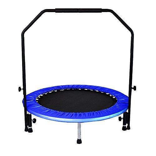 3段調整!安全手すり付き 子供から大人まで楽しめる 折りたたみ式トランポリン ブルー,室内,遊具,