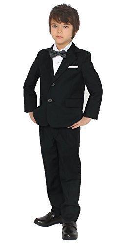 ドリーム企画 子供スーツ ブラック ネイビー フォーマル su-0012 キッズ 男の子スーツ 4点セット キッズスーツ (150サイズ, 黒),子ども,フォーマル,