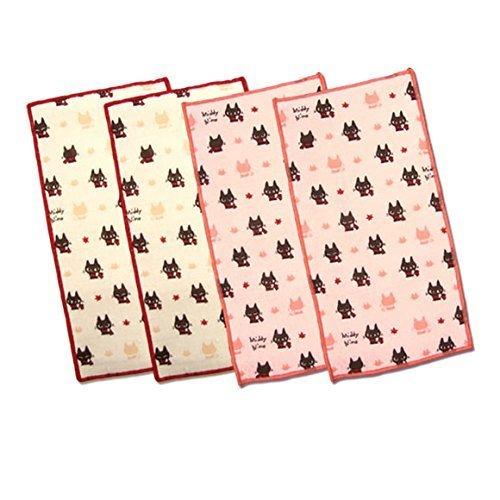 (ハーフハンカチ・黒猫ミディセット/タグ付)安心日本製!当店オリジナル!小さなお子様のポケットにピッタリ!スリムで可愛いハンドメイドミニタオル☆ハーフハンカチ4枚セット,タオル,ハンカチ,こども