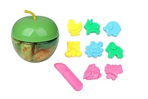 カワイイ りんご ケース 入り 12色 カラー 粘土 ねんど & 動物 アニマル 型 8種類 ヘラ セット,粘土遊び,幼児,