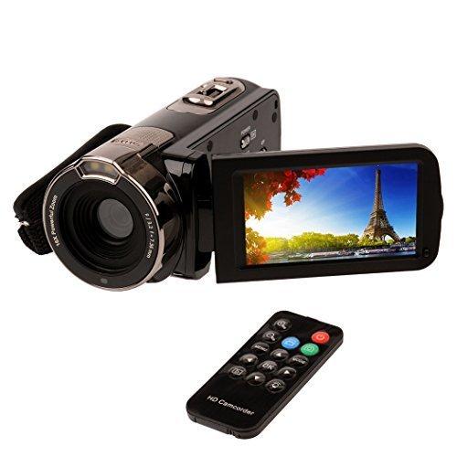 (inkint)フルハイビジョンビデオカメラ 2400万画素 1080P 16倍デジタルズーム 270度回転 ナイトビジョン機能 リモコン SDカード(最大32GB) ブラック,デジタル,ビデオ,カメラ