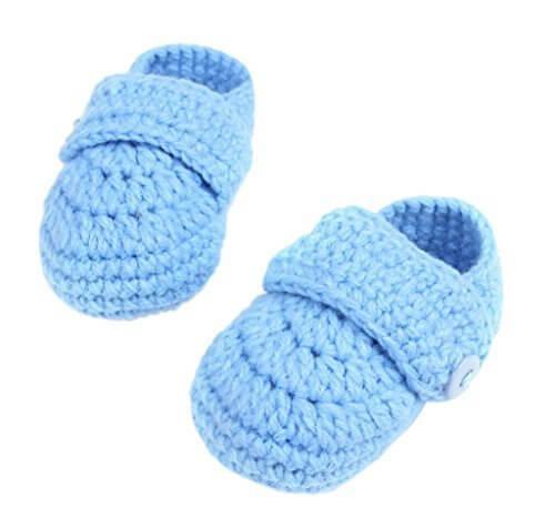 (ビグッド)Bigood ニットベビーシューズ ファーストシューズ ニット靴 ルームシューズ 新生児 子供用 ボタン付き お祝い ソックスシンプルブルー,赤ちゃん,ルームシューズ,