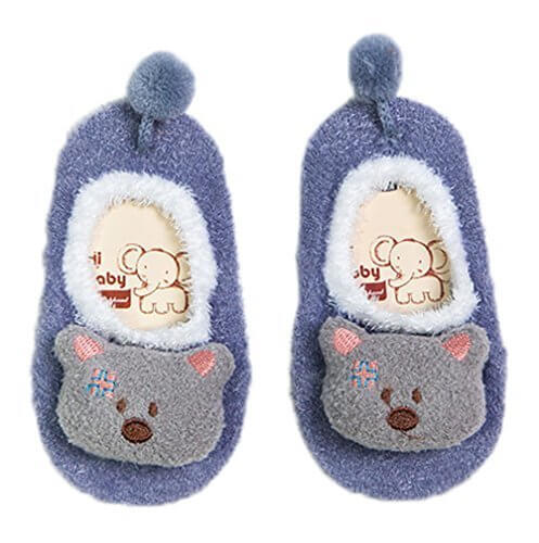 (ビグッド)Bigood かわいい ベビー 赤ちゃん もこもこ 暖かソックス 靴下 アニマル ルームシューズ ファーストシューズ 滑り止め 室内 出産祝い(パープルL),赤ちゃん,ルームシューズ,