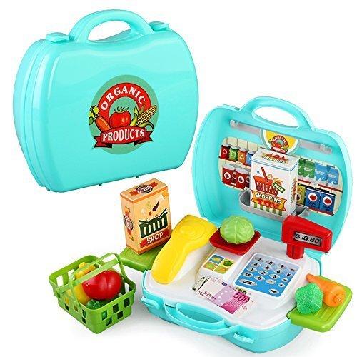 おままごと 収納トランクセット おもちゃ お店やさん スーパーマーケット レジスター ストアセット,ままごと,おもちゃ,
