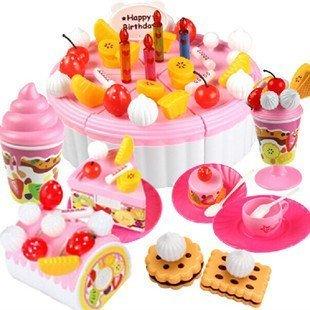 Beau Village(ボー・ヴィラージュ)豪華おままごと バースデーパーティセット サクサク切れる デコレーションケーキ&ロールケーキ&ティーセット (ストロベリー),ままごと,おもちゃ,