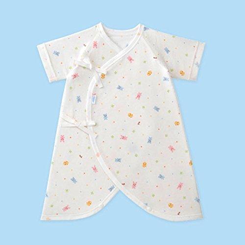 MIKIHOUSE FIRST(ミキハウスファースト)『ピュアベール』天使の肌着どうぶつとクローバー柄の天竺コンビ肌着 60cm,白(01),ミキハウス,出産祝い,