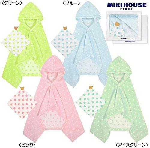 ミキハウス包装紙でラッピング済み ミキハウス ドットバスポンチョ ガーゼハンカチセット (ピンク(08)) 名入れ 刺繍 MIKIHOUSE 40-3808-674 ミキハウスファースト 日本製,ミキハウス,出産祝い,