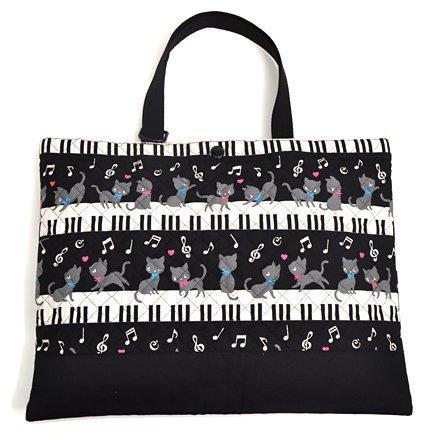 ハンドメイド感覚のKidsレッスンバッグ ピアノの上で踊る黒猫ワルツ(ブラック) 日本製 N0222700,幼稚園,通園,バッグ