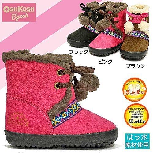 (オシュコシュ) OSHKOSH WB098 子供ブーツ 防寒 撥水加工 雪国仕様 ムートン風 14.5cm BK(ブラック),ベビー,ブーツ,
