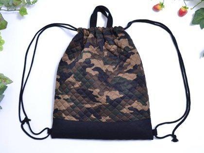持ち手付きKidsナップサック 迷彩・モスグリーン  日本製 N0401200,体操着袋,
