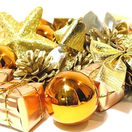 オシャレ かわいい クリスマス ツリー リース 用 オーナメント 飾り オレンジ ゴールド 24個 セット ボール リボン 星 松ぼっくり プレゼント (d.オレンジ 24個セット),リース,手作り,