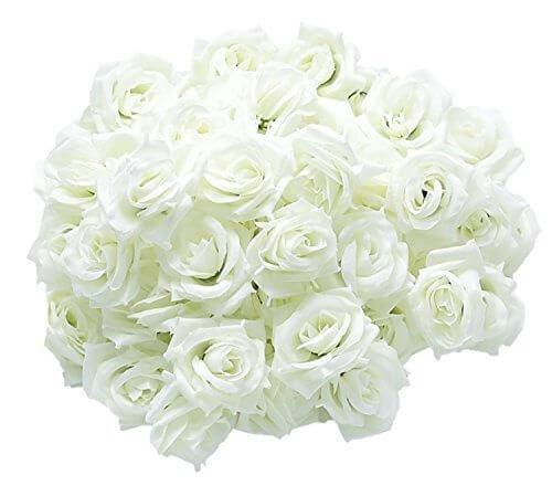 [19blue] バラ 造花 50個 8cm ブーケ ローズ 結婚式 装飾 (白 アイボリー),リース,手作り,