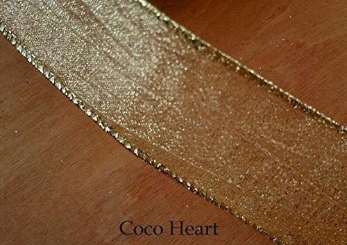 ~Coco Heart~ X'mas ゴールドエレガントリボン ワイヤー入り 1m単位 (リース・プリザ・ドライフラワー),リース,手作り,