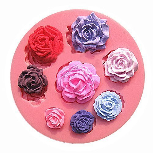 【Ever garden】 バラ 8個 薔薇 シリコンモールド / 手作り 石鹸 / キャンドル / 粘土 / レジン / シリコン モールド / 型 抜き型,手作り,キャンドル,
