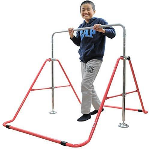 室内・屋外使用可 折りたたみ 鉄棒 レッド(赤) 子供用 40kgまで 高さ調整OK&組立カンタン,室内鉄棒,