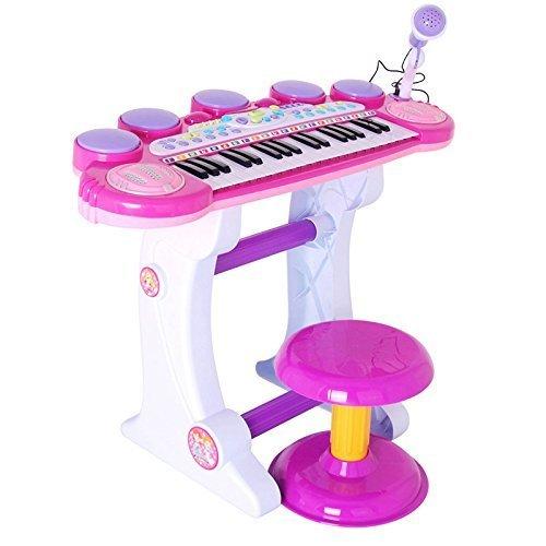 Izumin ピアノ椅子のセット 37キ 音楽玩具 マイク付き 椅子付き 子供練習用 幼児用 おもちゃ 子供用楽器  グランド,おもちゃ,楽器,