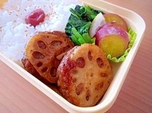 簡単15分☆蓮根ハンバーグの秋弁当,お弁当,ハンバーグ,