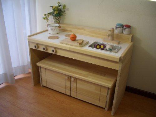 ままごとキッチン&デスク【A800】pap&mam,手作り,おままごと,