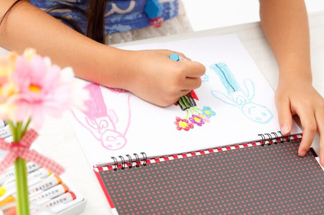 お絵かきをする子ども,鉛筆,持ち方,