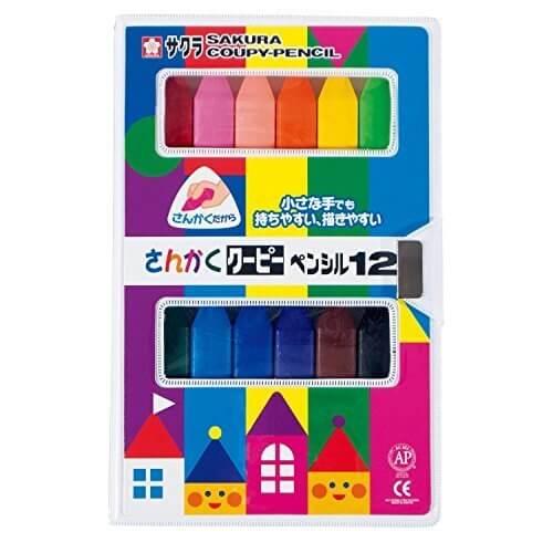 サクラクレパス さんかくクーピーペンシル 12色 FYL12,鉛筆,持ち方,
