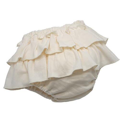 【日本製】プラチナムベイビー 2段フリルブルマ スカート★フライス綿100% (バニラ),ベビーブルマ,