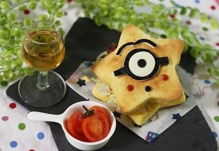 星型ミニオンパンケーキ,キャラ弁,作り方,