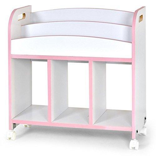 タンスのゲン BabyDays(ベビーデイズ) 絵本ラック 2段 キャスター付き ホワイト×ピンク 33600002 02,絵本,収納,