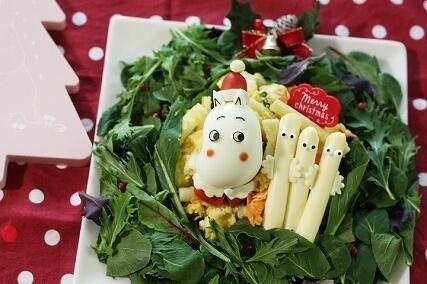 ムーミンサンタのサラダ,キャラ弁,作り方,