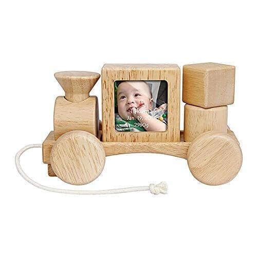 贈り物セット 名入れレリーフセット フォトフレーム つみきトレイン,赤ちゃん ,誕生記念,