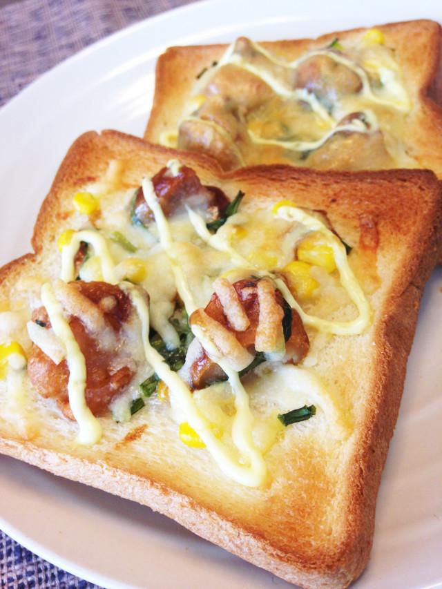 食パンアレンジ☆唐揚げトースト,お弁当,冷凍食品,