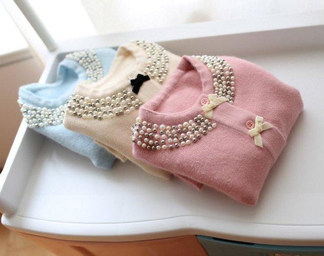 Sta.ANA(サンタ・アナ) 女の子 たっぷりパールビジューがおしゃれ リボン付き ラウンドネックカーディガン 全3色 5サイズより ベビー トドラー キッズ ガールズ,子供服,カーディガン,