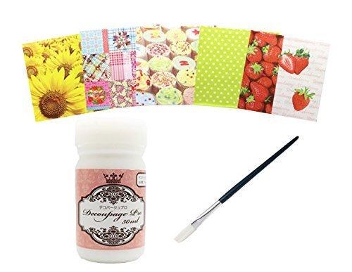 デコパージュプロミニセット 50ml 筆とペーパーナプキン5枚付き デコパージュ用糊,手作り,スタイ,デコパージュ