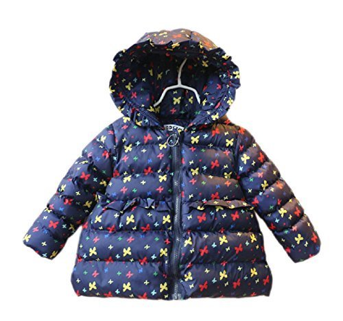 (マソンナーニ)Masonanic 女の子 ダウンジャケット コート 秋冬 子供服 キッズ アウター 中綿 厚手 暖かい 女の子 ブルゾン フィート付き (120cm, ネイビー),子供服,コート,