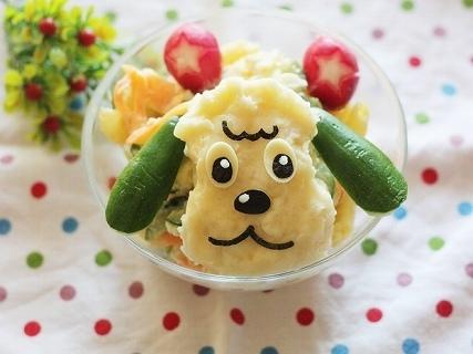 ワンワンのポテトサラダ,キャラ弁,作り方,