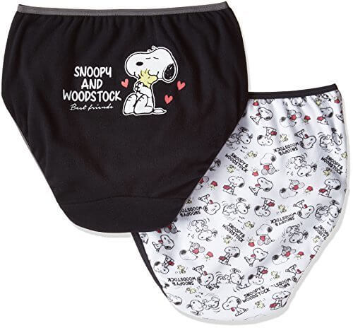 (スヌーピー)Snoopy < 女の子 ( 女児 ~ ガールズ )用 ショーツ 2枚組 > 綿100% 140 150 160 165 SN1G-026 ブラックXオフホワイト 160,小学校,パンツ,