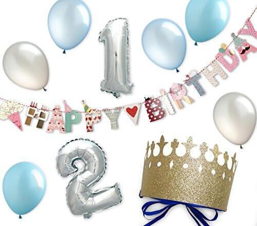 ハーフバースデー 風船 誕生日 飾り付け ガーランド 1歳 2歳 繰り返し使える 男の子 飾り 記念撮影に必要な飾りが揃うセット パーティー クラウン(ボーイズ1・2),ハーフバースデー,お祝い,