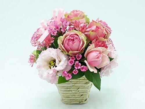 5本のバラと季節のお花のリボンアレンジメントWhite,祖父母,プレゼント,