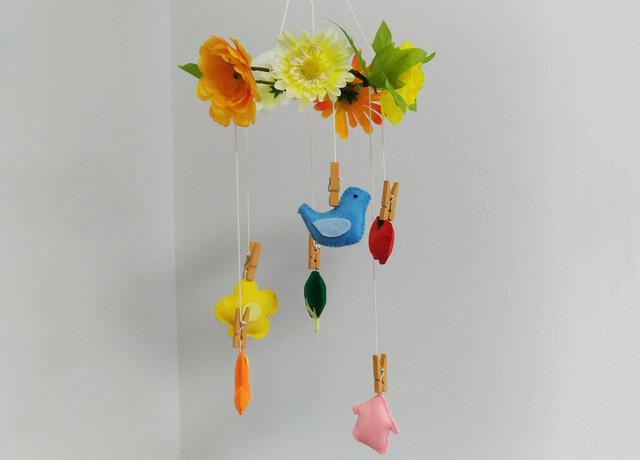 ベビーメリー 手作り お花 小鳥,100均,手作り,メリー