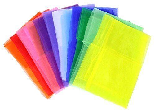 ADEA スカーフ シフォン 正方形 四角 リトミック スカーフ遊び ダンス 12色 12枚セット,リトミック,教材,