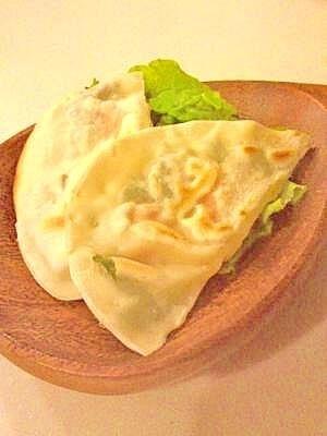 お弁当用。明太シソチーズ餃子の皮包み~,お弁当,餃子,