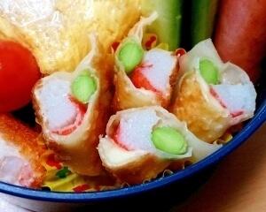 お弁当にも☆餃子の皮でチーカニカマ☆,お弁当,餃子,