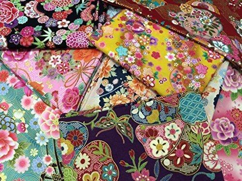 和調花柄きもの風の生地がいっぱい トライアルセット10枚 (和柄の布・生地の着物風の柄のハギレ・カットクロス)【 の 】,手作り ,ガーランド,