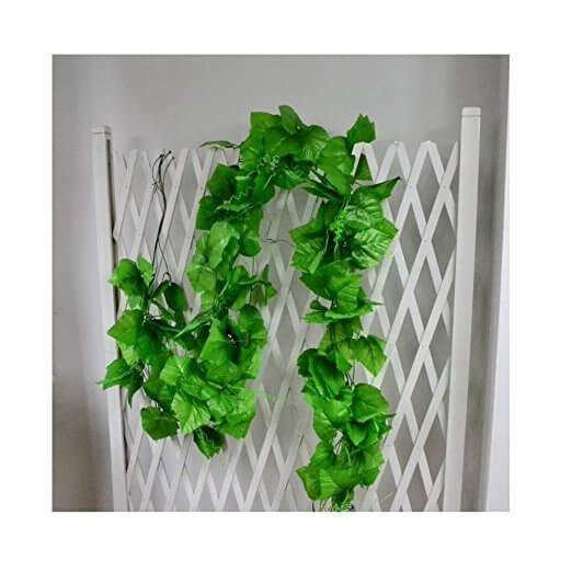 癒しの緑 ! 造花ブドウ葉 ガーランド 籐のつる ウェディングガーデン花柄インテリア 2本,手作り ,ガーランド,