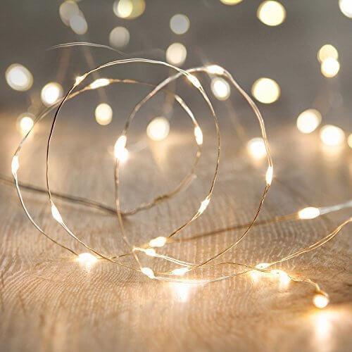 MANATSULIFE-イルミネーション LED ライト 電飾 電池 式 クリスマス ツリー 飾り (2M(20LED), ウォームホワイト),手作り ,ガーランド,