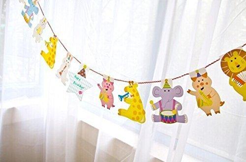 SUNBEAUTY 15枚セット 2m 可愛い動物セット DIY ガーランド 子供の部屋 ベービーの誕生日パーティー 保育園の飾り付け デコレーション,手作り ,ガーランド,