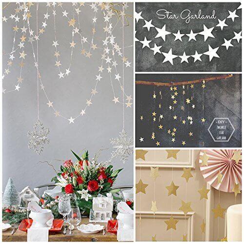 EQLEF® 2ピース結婚式の誕生日パーティーのベビーシャワーテーブルの装飾のための4Mシルバーとゴールドツインクルスターデコレーションストリングペーパーガーランド,手作り ,ガーランド,